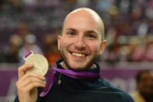 LONDON, ENGLAND - JULY 30: Silver medallist Niccolo Campriani of Italy poses with the silver medal won in the Men's 10m Air Rifle Shooting final final on Day 3 of the London 2012 Olympic Games at The Royal Artillery Barracks on July 30, 2012 in London, England. (Photo by Lars Baron/Getty Images)